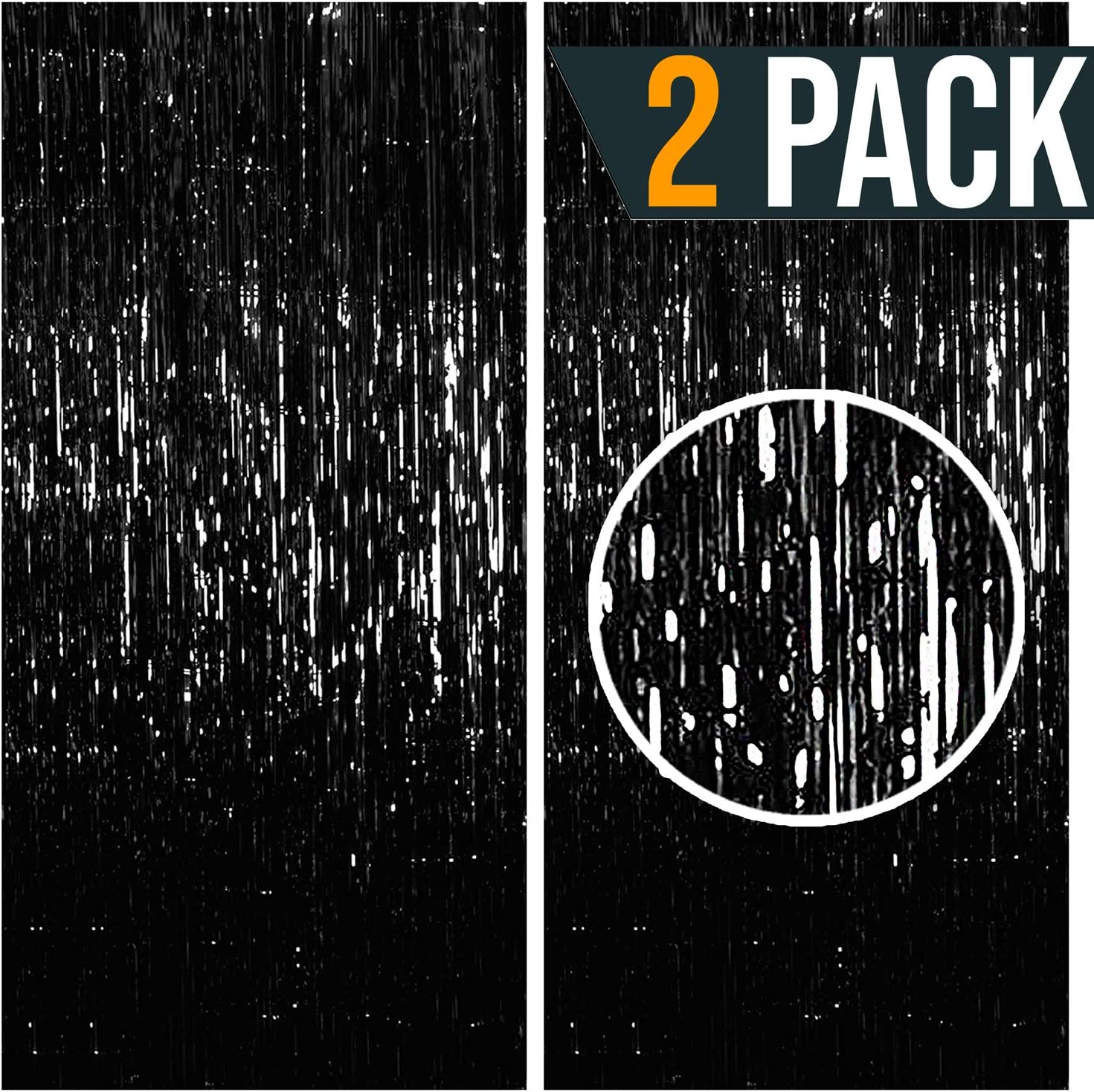 3.25 x 6.7 ft (2 Pack) Tinsel Foil Fringe Curtains Party Decorations Photo Booth Backdrop   Wedding Décor Baby Shower Graduations Valentine Day Bachelorette Birthday Decorations (Black)
