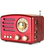Radio PRUNUS Classique, Décor Style Bois Rétro, Rechargeable FM AM SW, Bluetooth, AUXiliaire (Rouge)