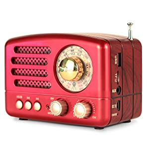 M-160BT Retro Bluetooth Speaker Portable AM/FM/Shortwave Rechargeable Radio, Supports TF Card/Aux/USB MP3 Player, by PRUNUS(Red)