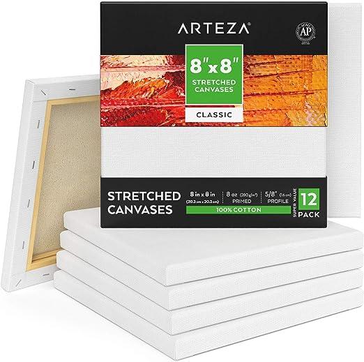 ARTEZA Lienzos blancos estirados e imprimados   20,3x20,3 cm   Pack de 12   100% algodón   Lienzos de pintura acrílica, óleo y medios húmedos   Para artistas profesionales, aficionados y principiantes: Amazon.es: Hogar