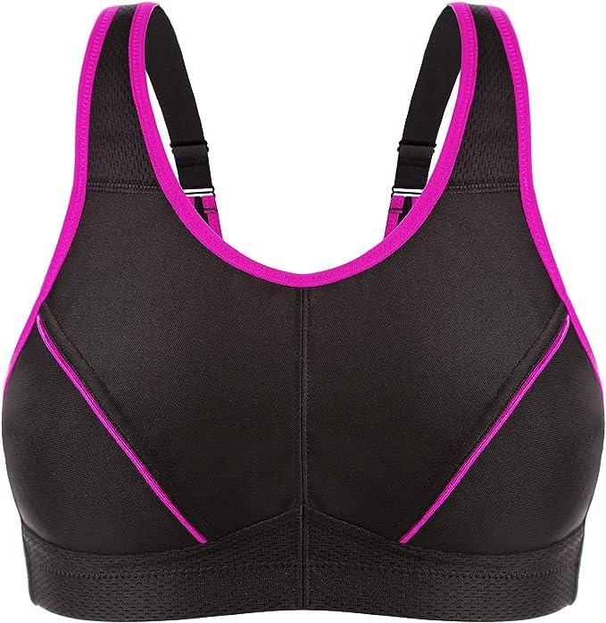 WingsLove Women's High Impact Sports Bra Wire-Free Full Support Workout Gym Bra(Black,44C)