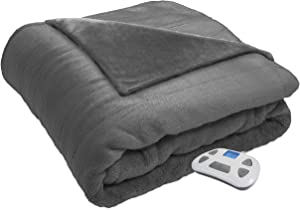 Serta Heated ElectricSilky Plush Blanket with Programmable Digital Controller, Twin, Gray Model 0917
