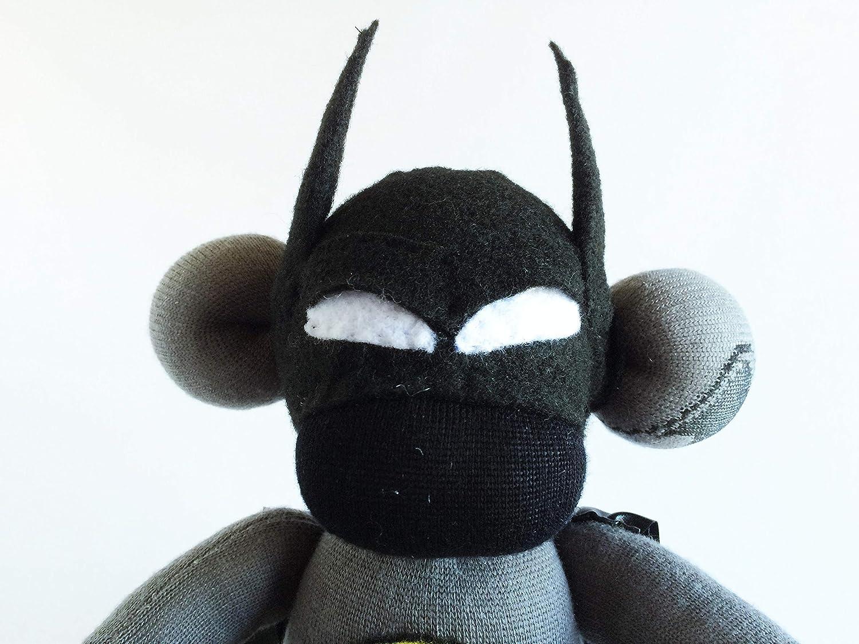 Bruce Wayne Sock Monkey Batman Sock Monkey Superhero Sock Monkey Justice League Sock Monkey Caped Sock Monkey Grey Sock Monkey