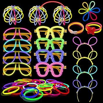 Yodeace Pack de 100 Pulseras Luminosas Fluorescentes Barras Regalos de Pascua, Varitas Luminosas Fiesta con 130 Conectores para Crear Pulseras Luminosas, Gafas Luminosas, Diadema, Bola Luminosa: Amazon.es: Juguetes y juegos