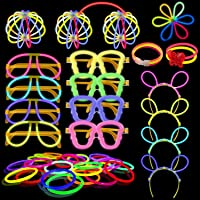 Yodeace Pack de 100 Pulseras Luminosas Fluorescentes Barras