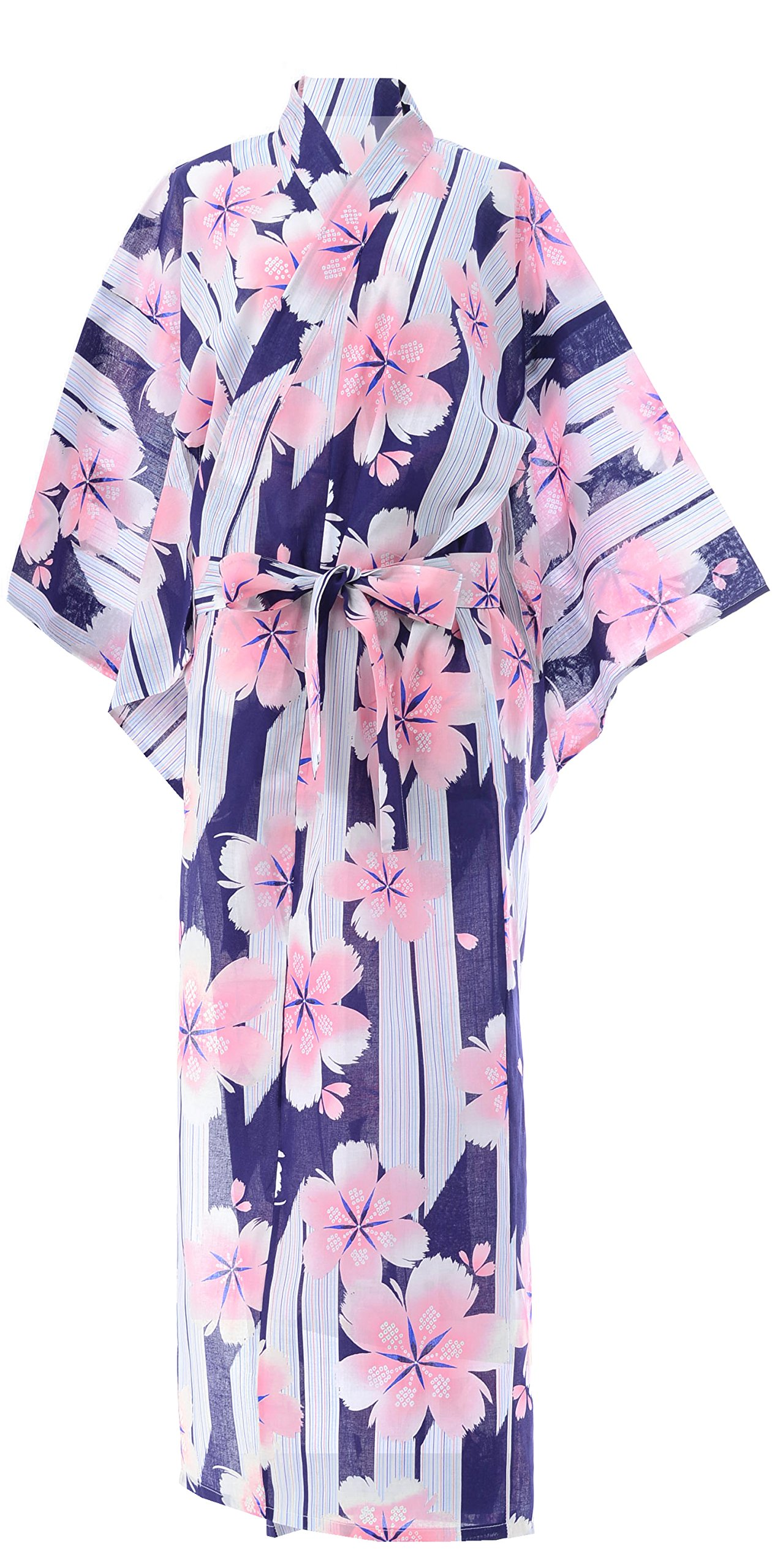 Kimura Jitsugyo Kyoto Traditional Easy Wear Yukata Robe (Japanese Casual Kimono Pajama) Japanese Cherry Blossoms Set 2 Large Woman