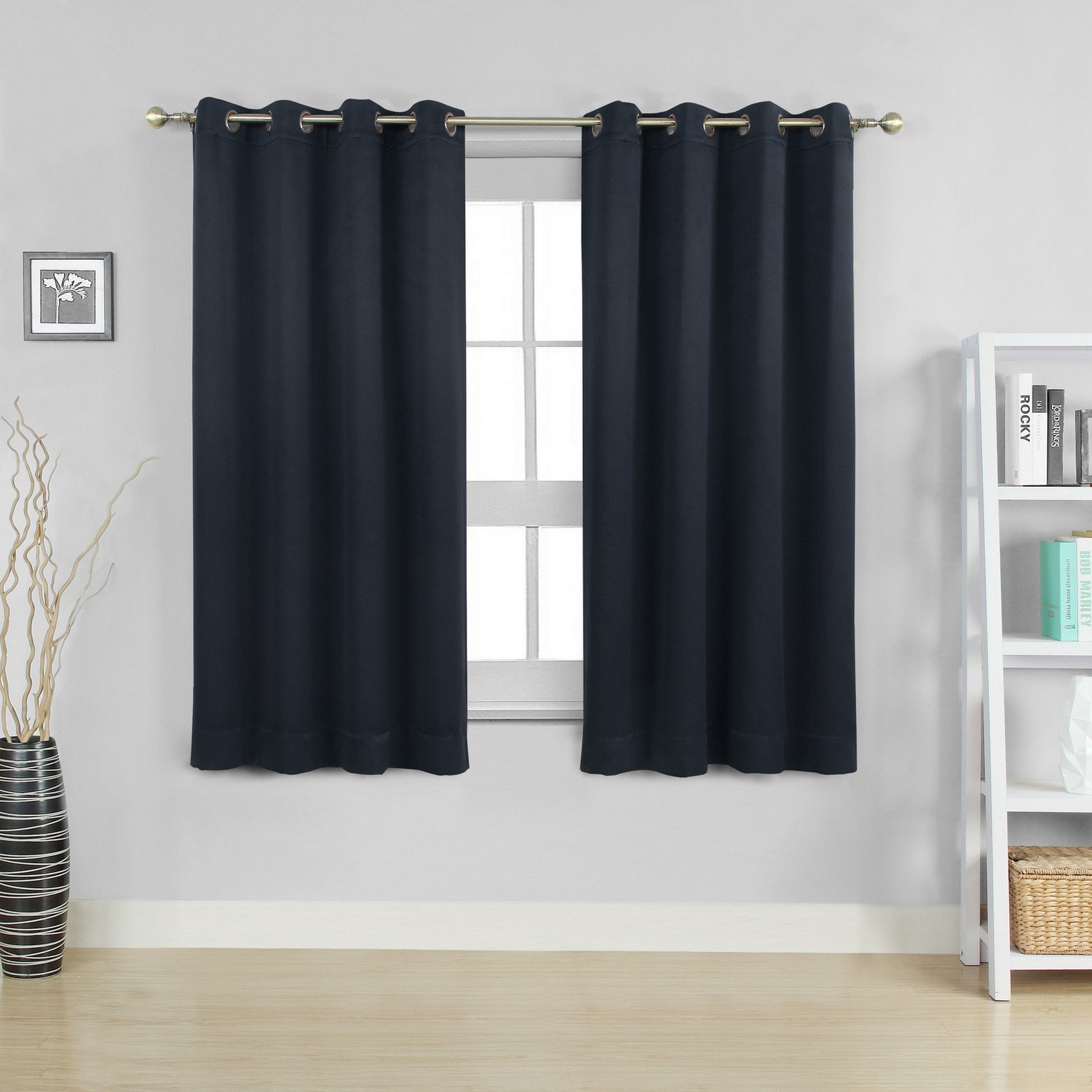 Moonen 99% Blackout Curtain for Bedroom Thermal Insulated Noise Proof Microfiber Heavy Silky Textured Darkening Grommet Top Drapes (2 Panels Set, Black, 52x63 Inches)