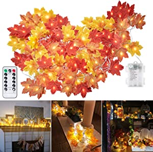 Fall Maple Leaf String Lights, 20Ft. 40 LED Fairy Lights Fall Decor, Battery-Operated Waterproof with 8 Lighting Modes Orange Fall Garland Lights Decor for Party Indoor Outdoor Thanksgiving