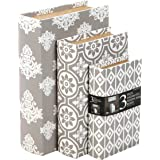 """Hosley Storage Memory Book Box Set /3, Gray White Farmhouse Large 12"""", Med 10"""" Small 8"""" High Ideal Gift for Wedding…"""