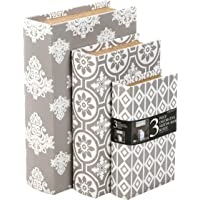 """Hosley Storage Memory Book Box Set /3, Gray White Farmhouse Large 12"""", Med 10"""" Small 8"""" High Ideal Gift for Wedding Memories Jewelry Trinket Hobby Keepsake Cash Pill Polish Gifts Letter File Photo O6"""