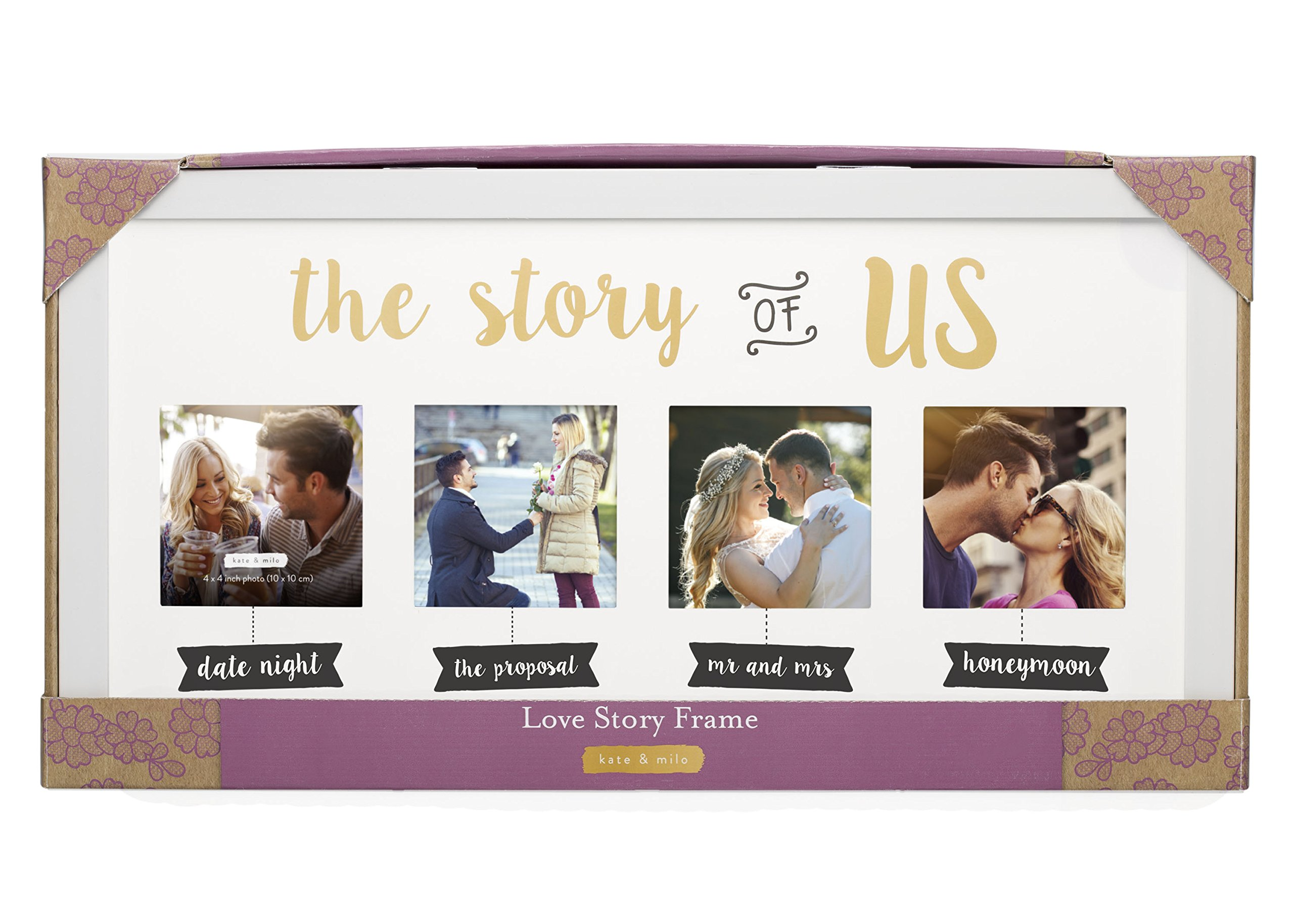 Kate & Milo 'The Story of Us' Photo Frame, White, Cherish Your Love Story, The Perfect Bridal Shower Gift by Kate & Milo (Image #3)