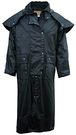 8222ac8ab34 Fox Fire Mens Oilskin Oilcloth Waterproof Outback Trail Australian Duster  Coat Black