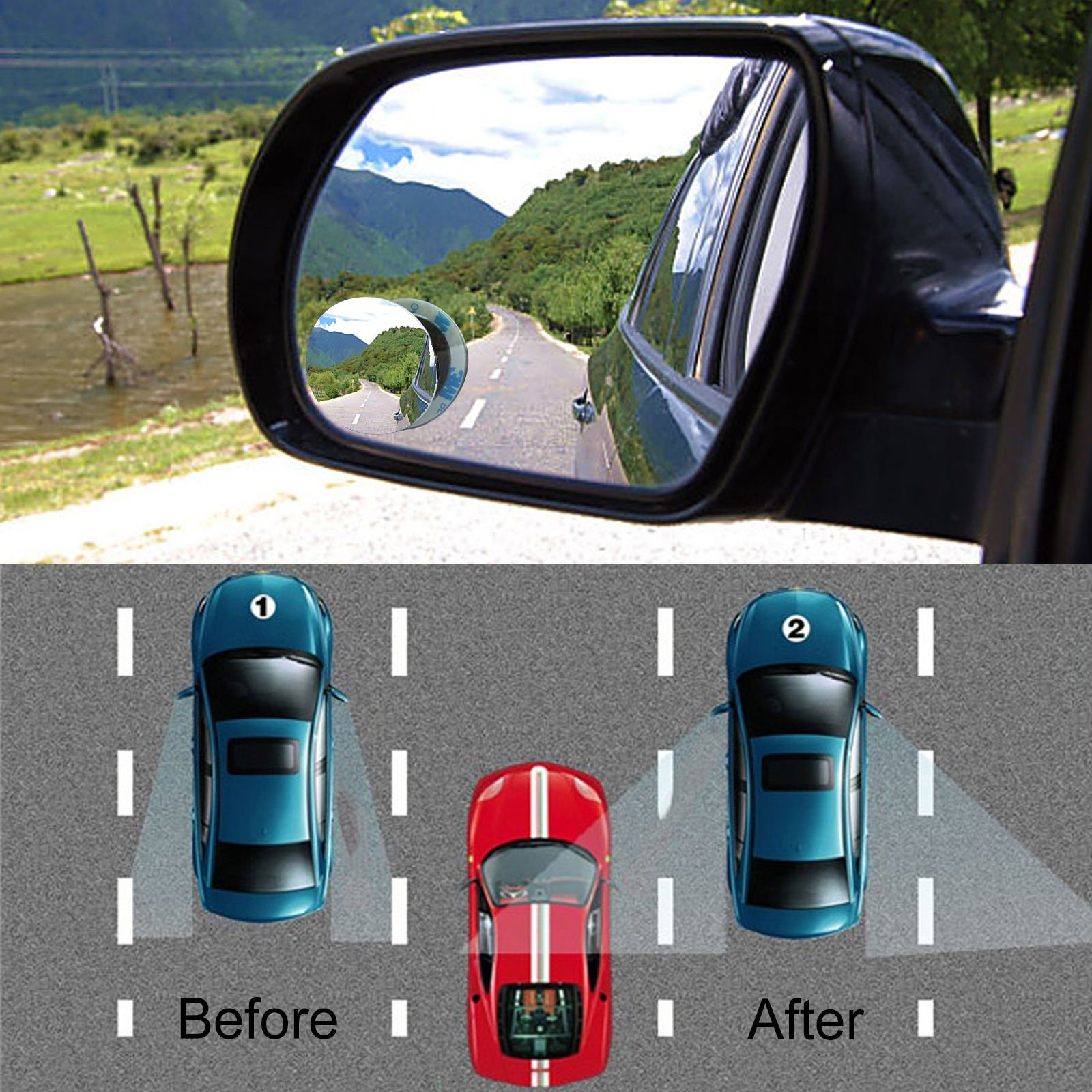 Kasstino 1Pair Car Vehicle Driver Wide Angle Round Convex Mirror Blind Spot Auto RearView by Kasstino (Image #6)