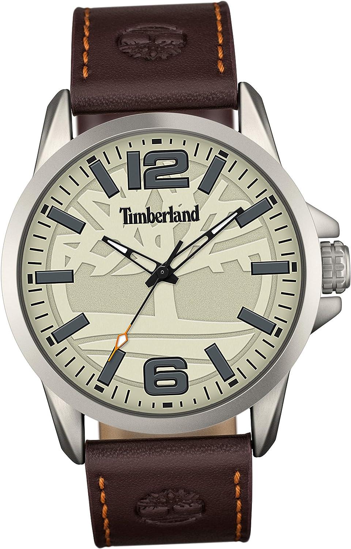 Timberland Mens Casual Watch Dark Brown Leather Strap Cream Dial Lightweight Aluminium Case Quartz 50m 5 ATM Wristwatch