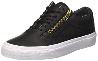 Vans Womens Leather Old Skool Zip Black Gold Sneaker - 3.5 4ddeb1ec3
