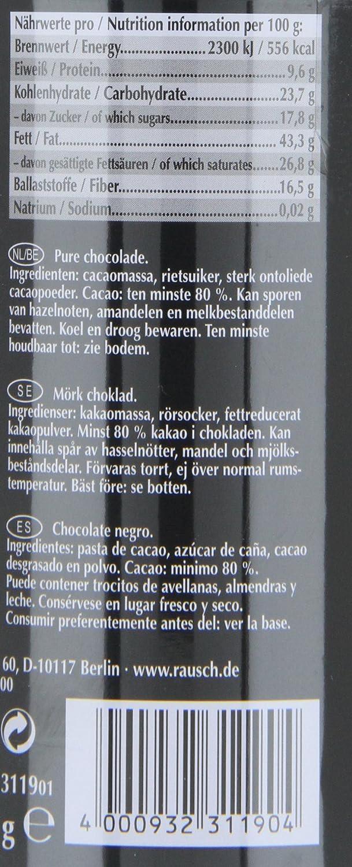 Amazon.com : Rausch Plantagen-Schokolade Tembadoro Edel-Bitter Schokolade, Dose mit 8 Sticks, Kakao: 80 %, 1er Pack (1 x 320 g) : Chocolate Candy : Grocery ...
