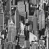 Muriva 102503 12 Novelties New York Wallpaper Rolls - Black and White