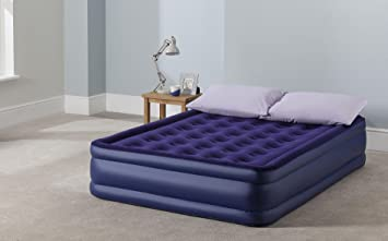 new tesco raised double air bed with built in electric pump blue rh amazon co uk