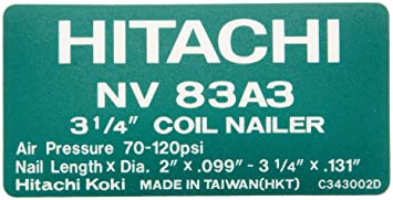 hitachi 83a3. hitachi 887866 replacement part for power tool name plate 83a3