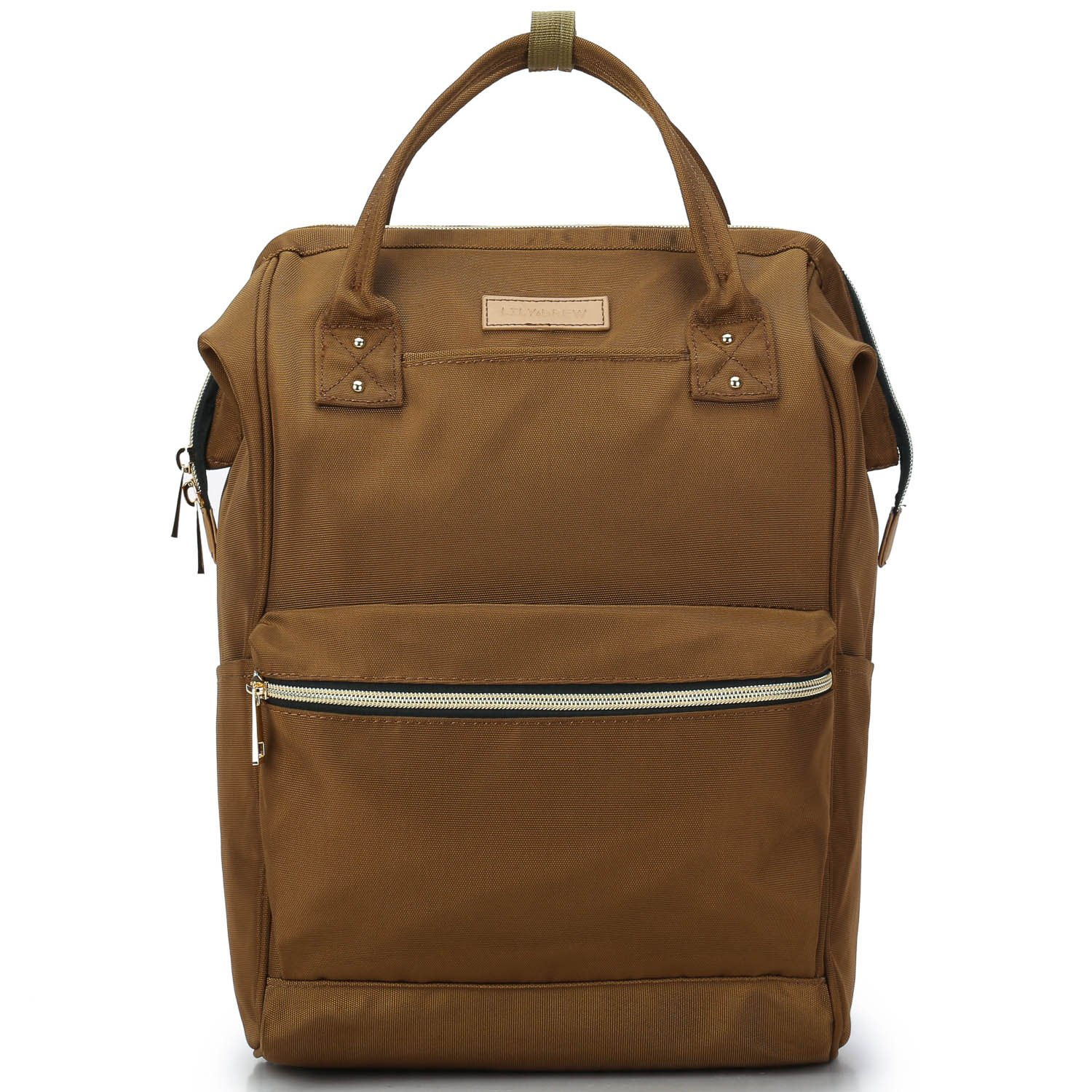 Lily & Drew Casual Travel Daypack School Backpack for Men Women and Laptop Computer, with Doctor Style Top Opening (V4 Brown Medium)