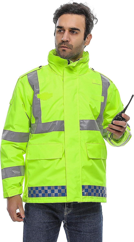 Durable Pluie Cyclisme Moto Police Route Aqua Construction HSNMEY Veste Imperm/éable Haute Visibilit/é Oxford 300D Maille Manteau S/écurit/é Reflechissant Anti UV UPF50
