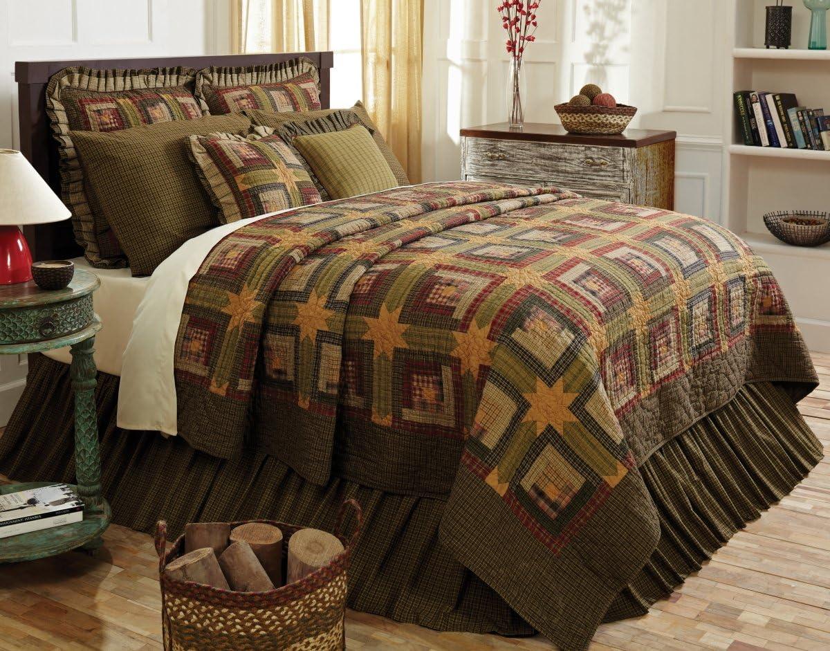 VHC Brands Rustic & Lodge Bedding - Tea Cabin Green Quilt, Queen, Moss
