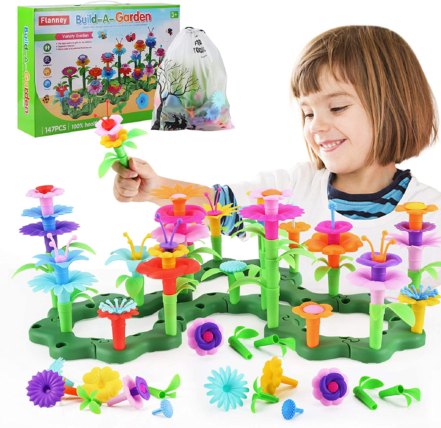 Flanney Flower Garden Building Toys, 147 Pcs Vibrant Colors DIY Floral Bouquet Arrangement, Assembly Garden Playset, Creative Educational Toy Gift for 3, 4, 5, 6 Year Old Girls Boys (with Storage Bag)