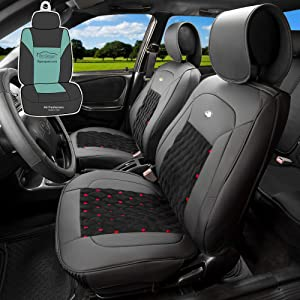FH Group PU204102 Victorian Style Luxurious Leather Seat Cushion Pad Seat Covers (Black Red Trim) Front Set - Universal Fit