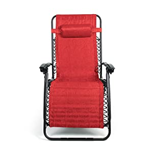 Camco 51833 Zero Gravity Wide Recliner (X-Large, Red Swirl Pattern)