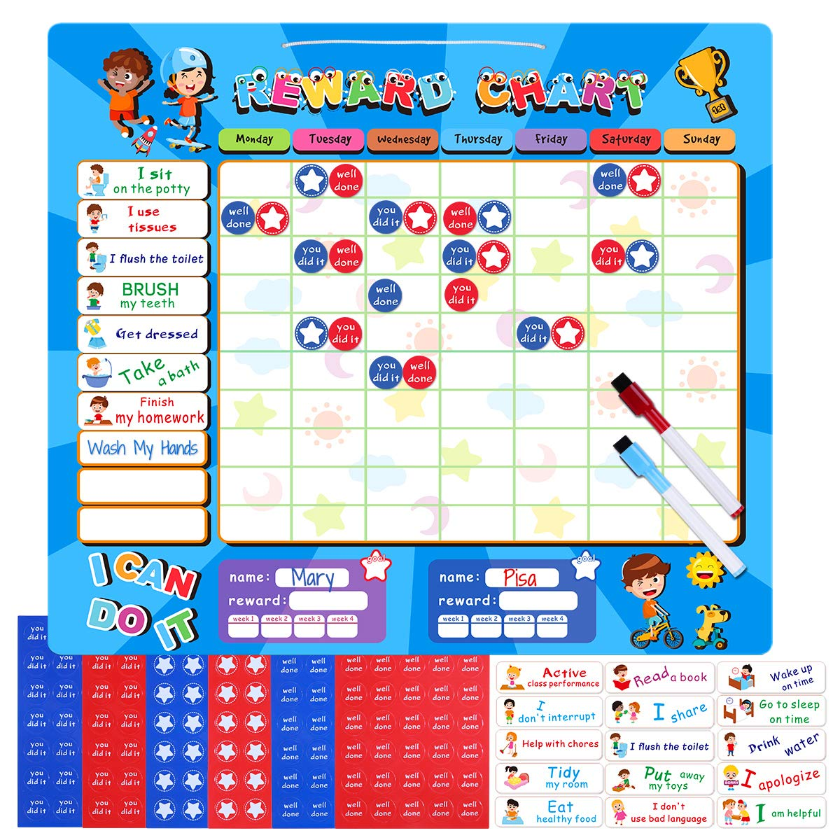 iBaseToy Reward Chart, Magnetic Refrigerator Chore Board for Two Kids, 15 x 13 inch, Responsibility Toddler Chart for Family,Kindergarten and Early Education Center by iBaseToy