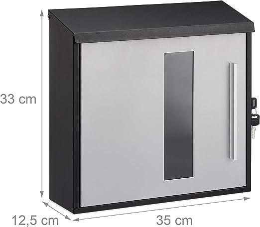 abschlie/ßbar HBT: 33 x 35 x 12,5 cm Schutzklappe Relaxdays Design Postkasten schwarz-Silber Briefkasten mit Fenster Standard
