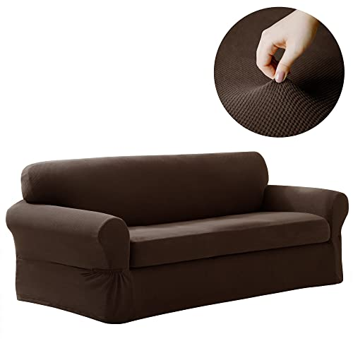 MAYTEX Pixel Stretch 2 Piece Sofa Furniture Cover/Slipcover, Chocolate