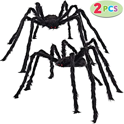 Halloween Large Creepy Spiders Decoration 4 Pack
