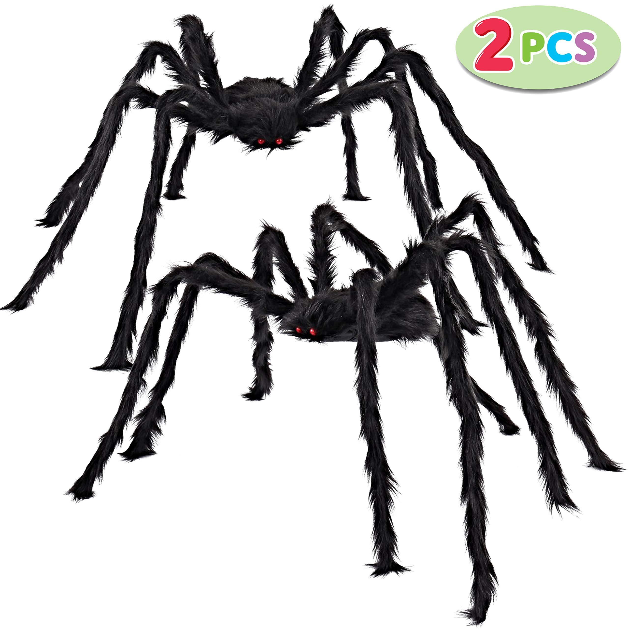 JOYIN 2 Pack 5 Ft. Halloween Outdoor Decorations Hairy Spider (Black) by JOYIN