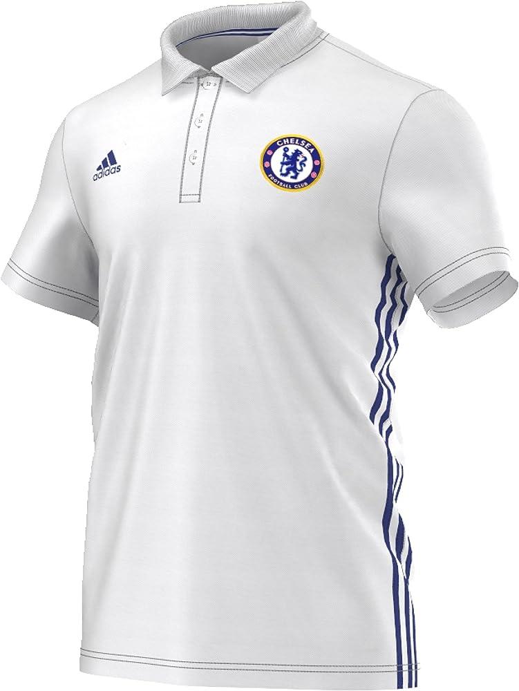 adidas Chelsea 3S Polo Camiseta, Hombre, Blanco/Azul (Blanco ...