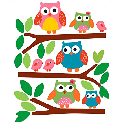 Amazon.com: Wallies Wall Decals, Owls Wall Stickers, Set of 5: Home ...
