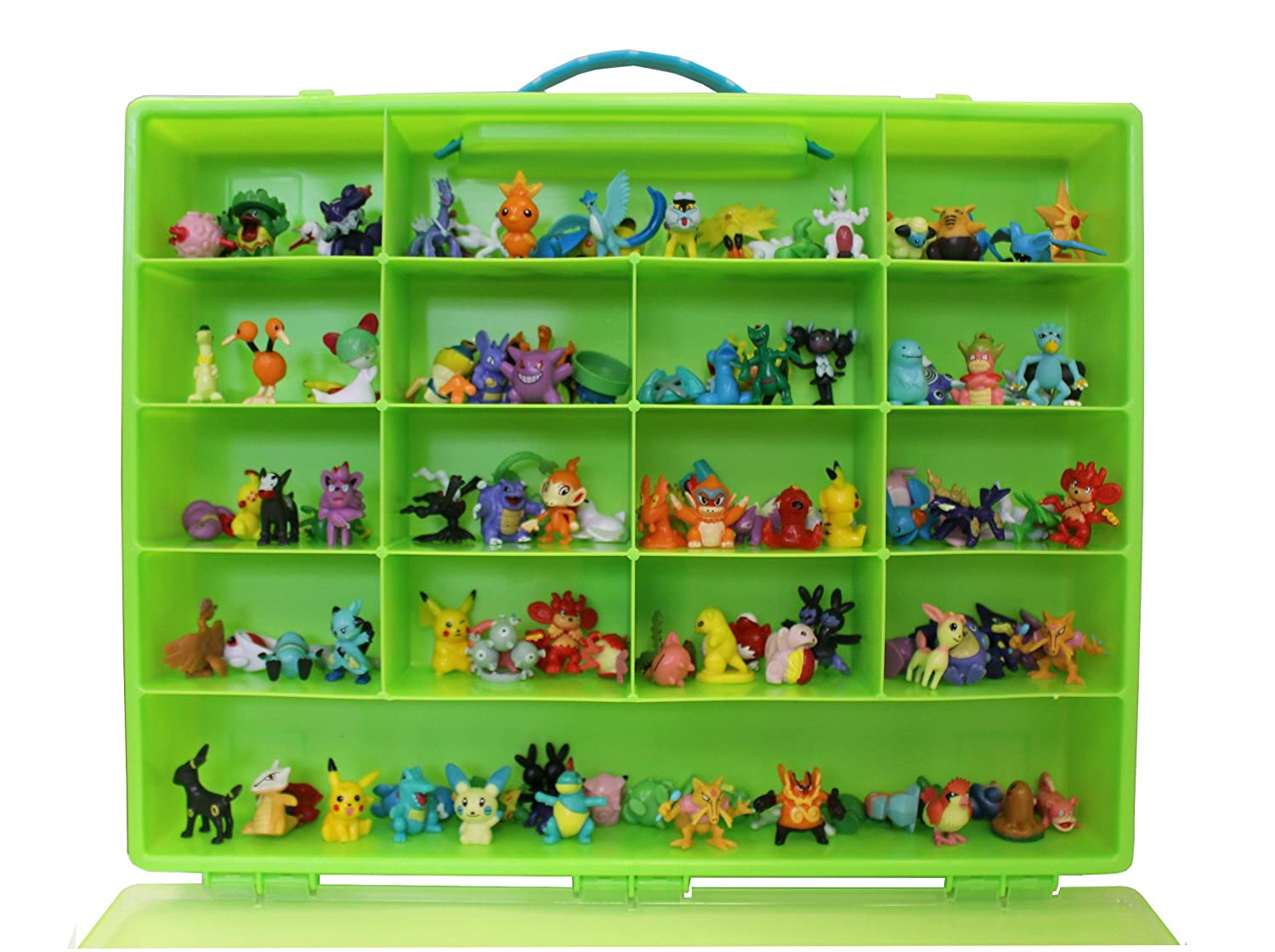 Pokemon TM Compatible Organizer - Perfect Pokemon TM figure Compatible Storage Case - Fits Up Approx 200 Characters, [Sturdy Case And Carrying Handle- Green / Lime] - Not with any figure UNME
