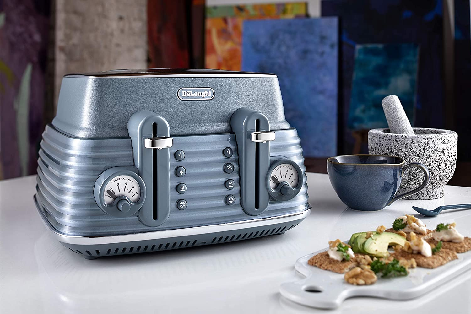 De'Longhi Scolpito 4 slot toaster, reheat, defrost, one-side bagel & 6 browning settings, Stainless steel, CTZS4003.BG, Clay beige Mineral Blue