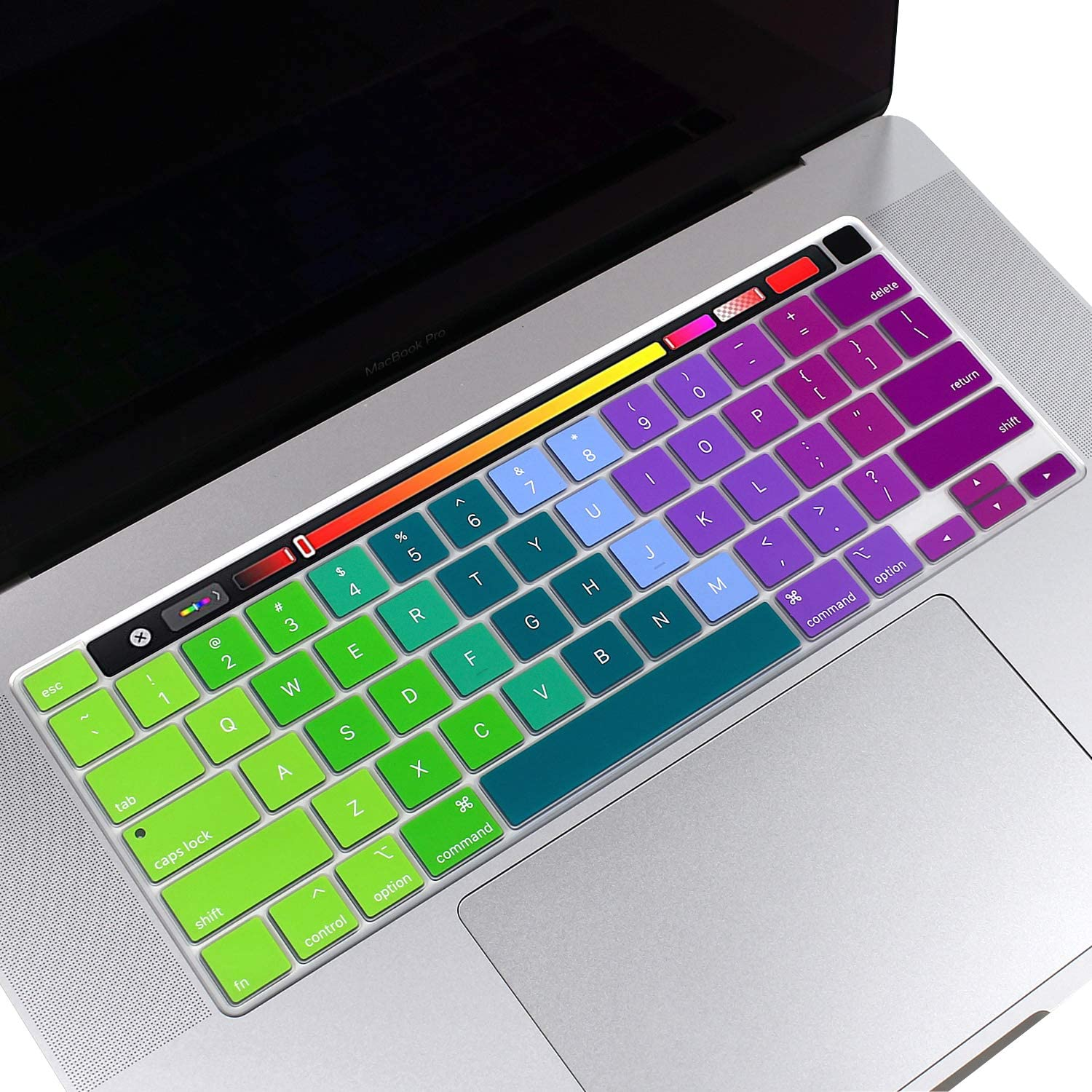 """Silicone Keyboard Cover for 13 inch MacBook Pro A2289 2020 Released & 16 inch MacBook Pro A2141 with Touch Bar & Touch ID 2019 (for 13"""" MAC PRO A2289 & 16"""" MacBook Pro A2141,Gradient- Rainbow)"""