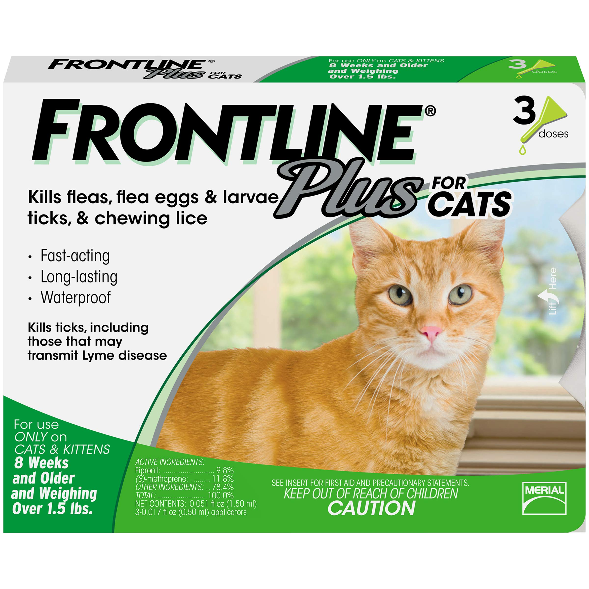 Frontline Plus for Cats and Kittens (1.5 pounds and over) Flea and Tick Treatment, 3 Doses by Frontline