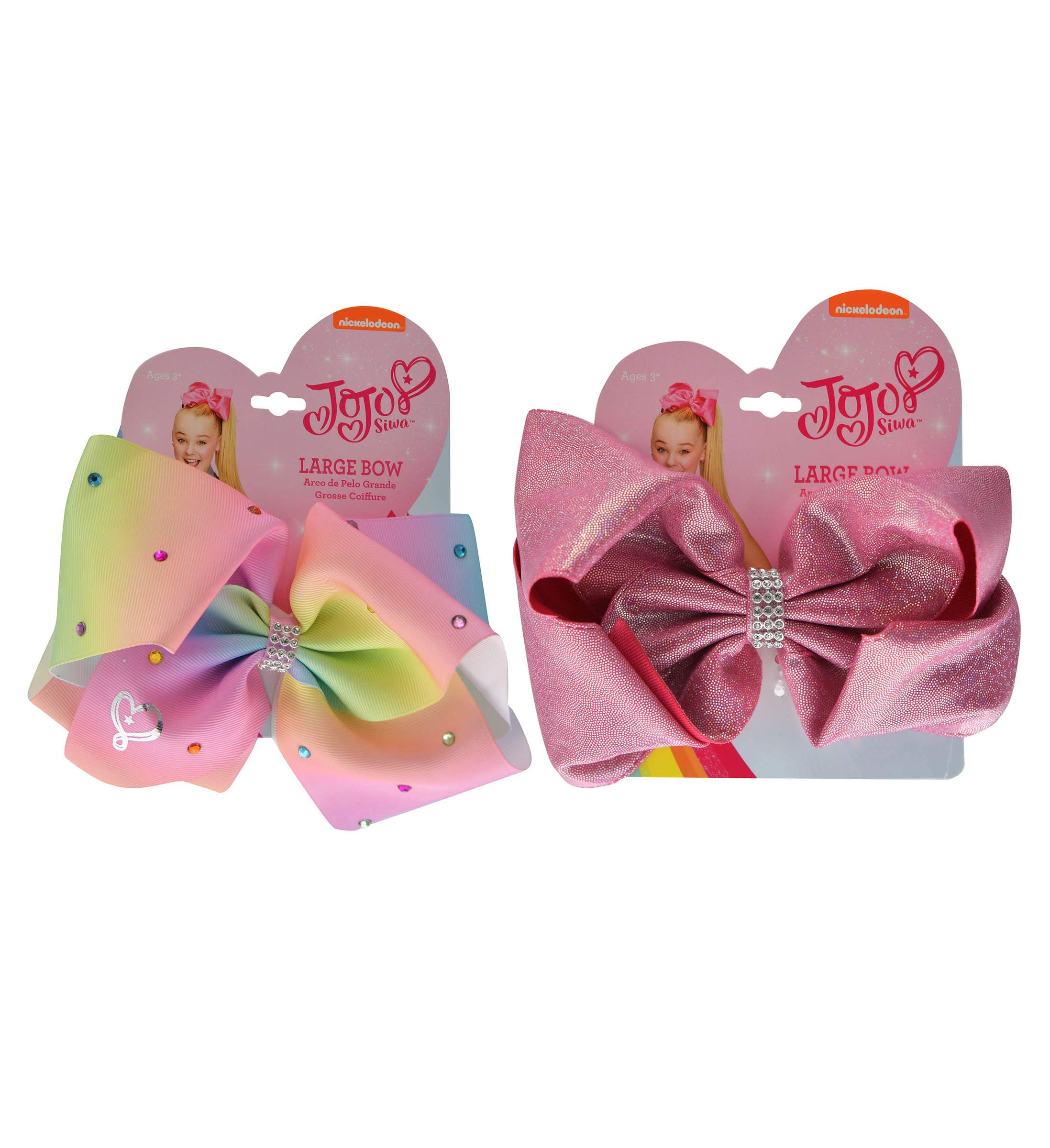 Mozlly Value Pack - JoJo Siwa Girls Rhinestone Pastel and Pink Glitter Signature Collection Hair Bow Clips - 5 x 5 inch - Elastic Pony - Novelty Fashion Collectibles (2 Items)