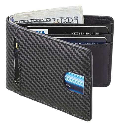 1e6d4a67e453 Casmonal Mens Leather Wallet Slim Front Pocket Wallet Billfold RFID  Blocking (carbon fiber leather black