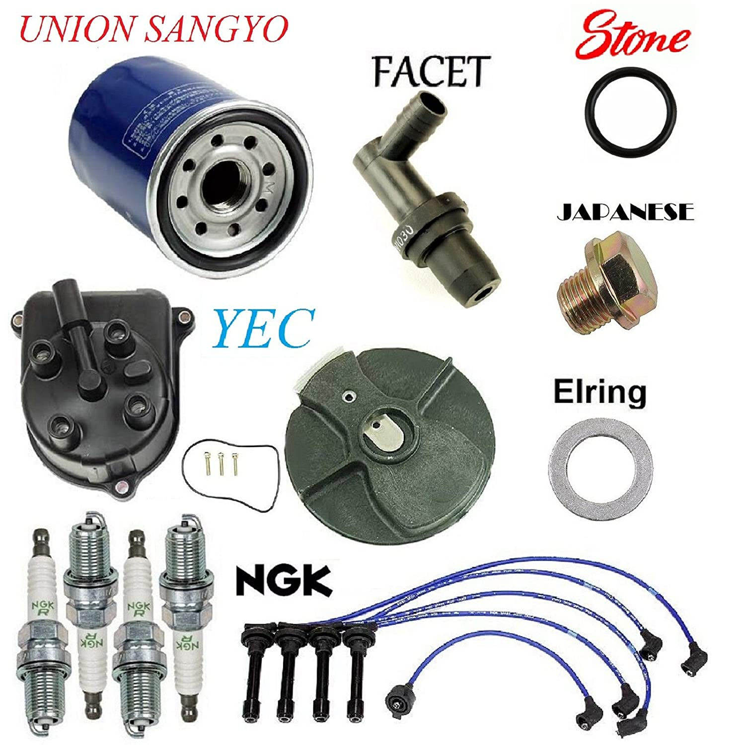 Tune Up Kit Cap and Rotor Filters Plugs Wire for Honda Accord DX; LX; 2.2L 1994-1997 8USAUTO