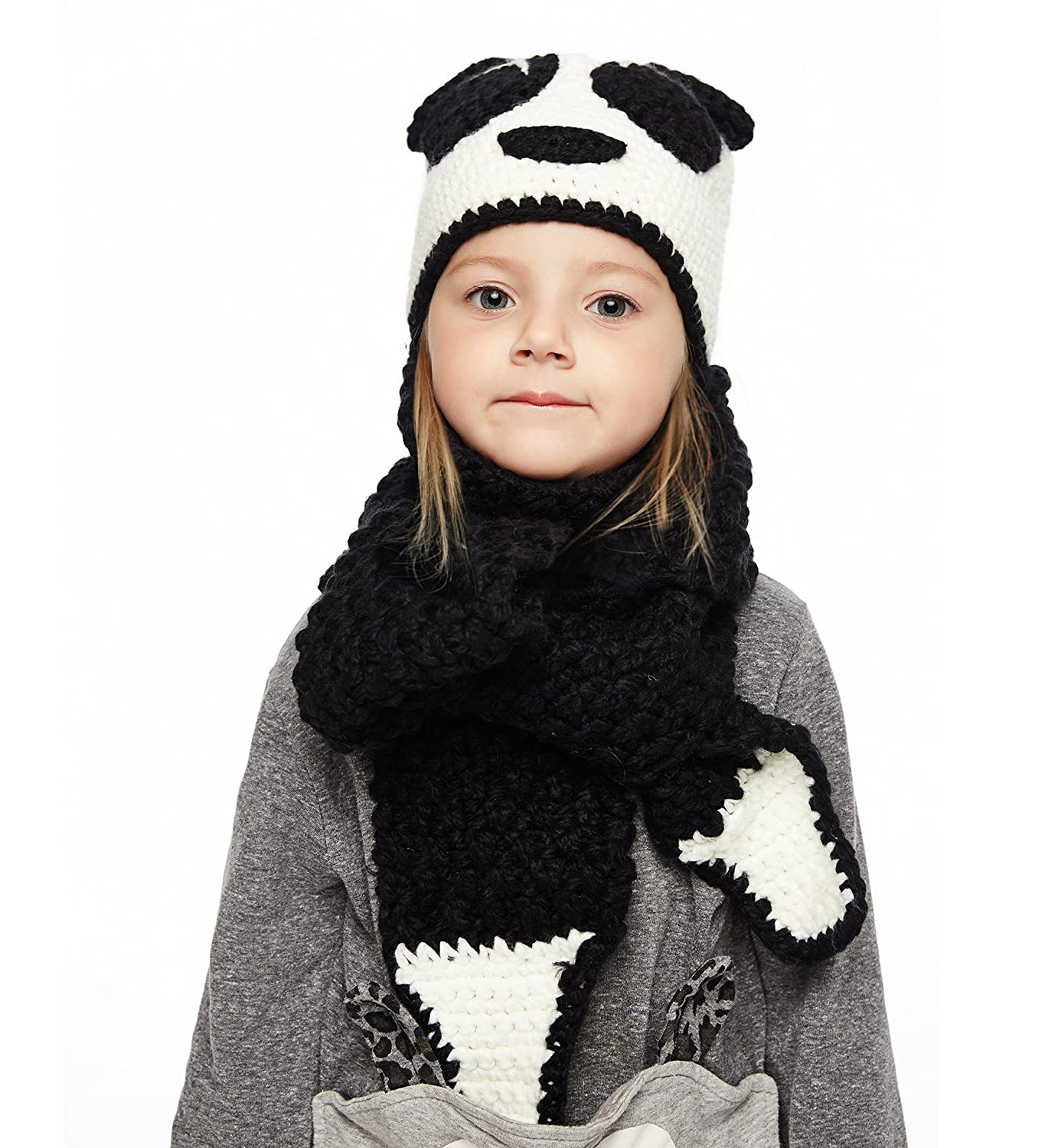 Sumolux Winter Kids Warm Fox Animal Hats Knitted Coif Hood Scarf