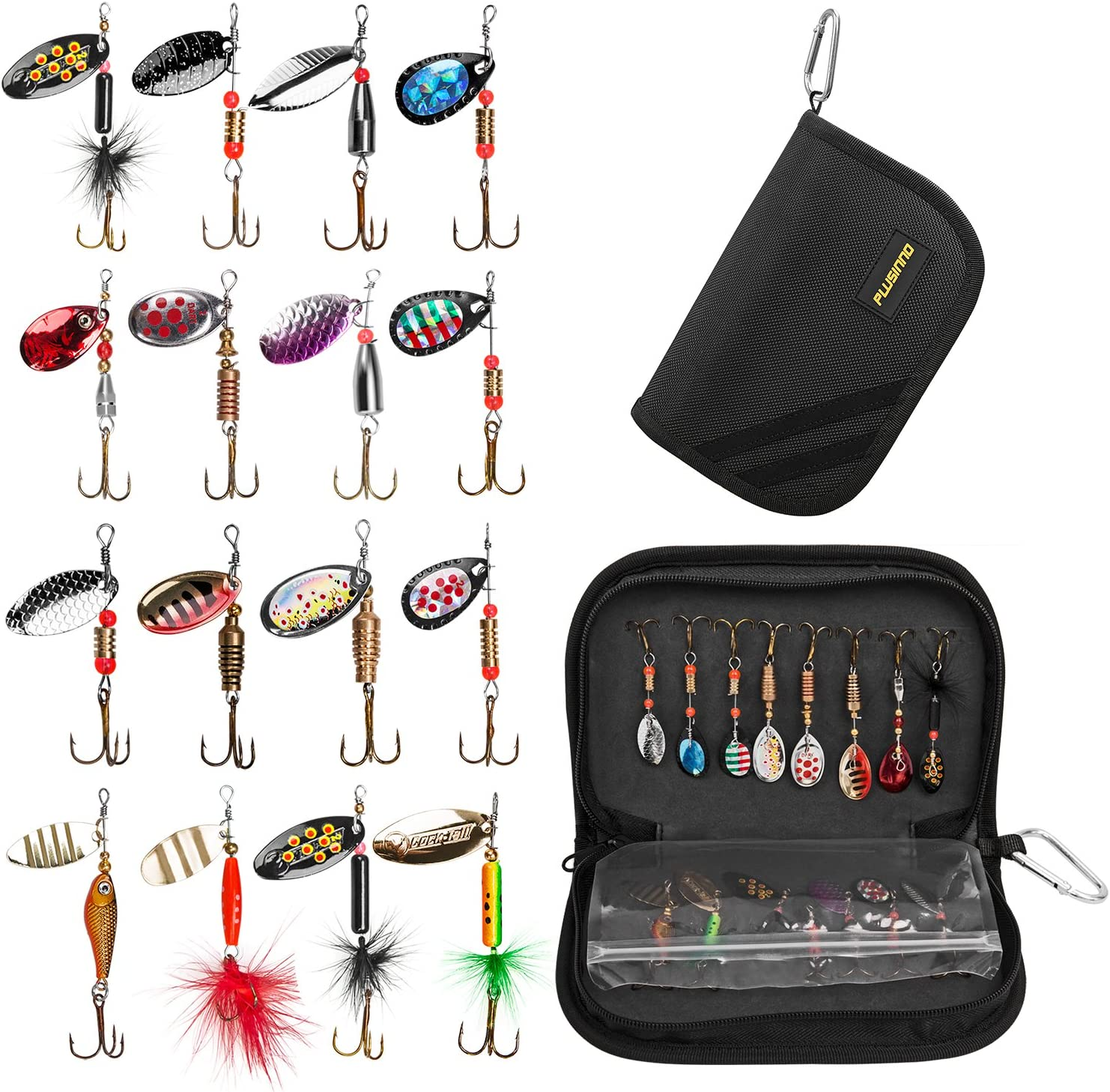 Plussino 16pc Spinner Lures with Portable Carrying Bag