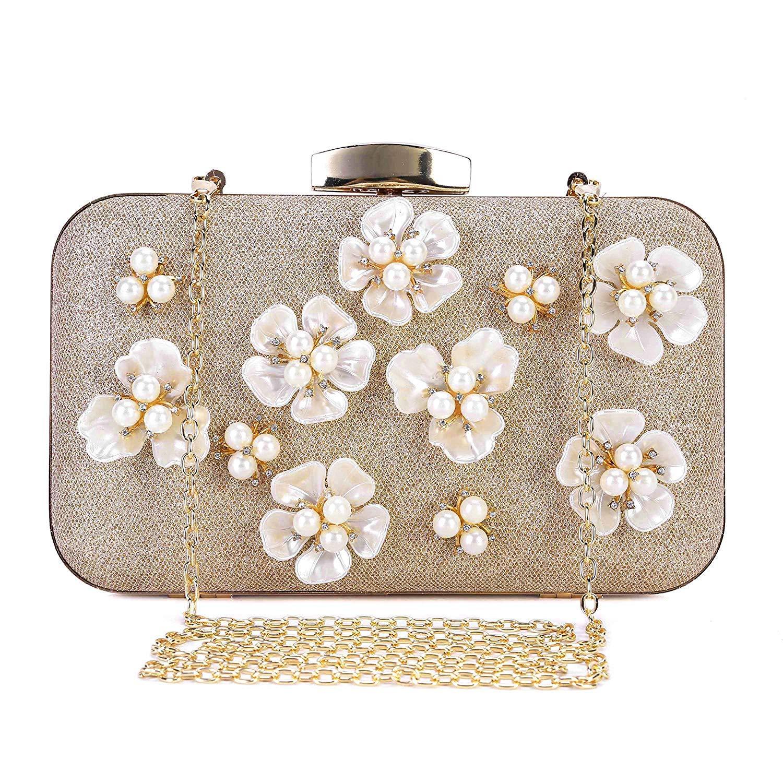 PARADOX (LABEL) Womens Glitter Floral Rhinestone Beaded Evening Bags  Wedding Clutch Purse (Gold)  Amazon.in  Shoes   Handbags 22c78e83da18