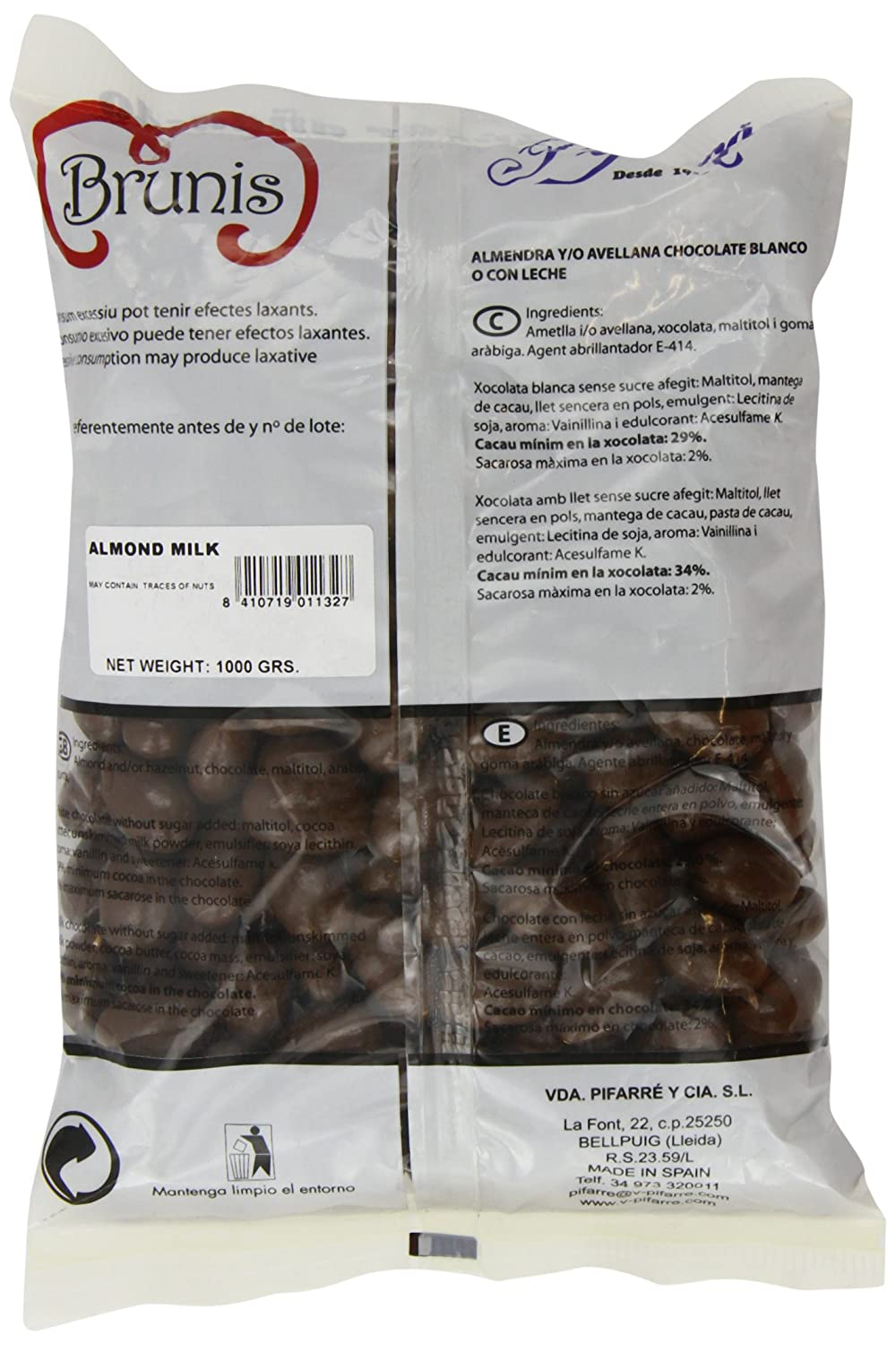 Amazon.com : Pifarre No Added Sugar Milk Chocolate Almonds 1 Kg : Grocery & Gourmet Food