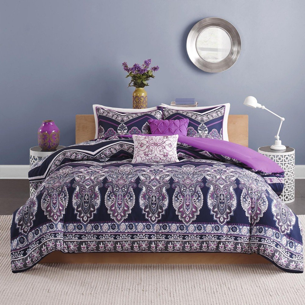 5 Piece Girls Navy Blue Purple Medallion Theme Chevron Comforter Full Queen Set