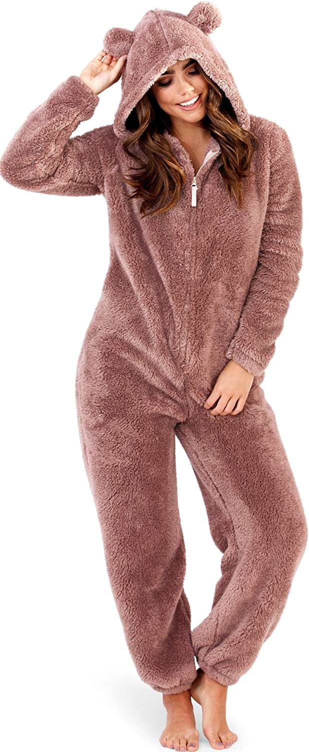 Soft and Cuddly Womens Sherpa Fleece Onesie with Hood and Ears Grey Ultraviolet