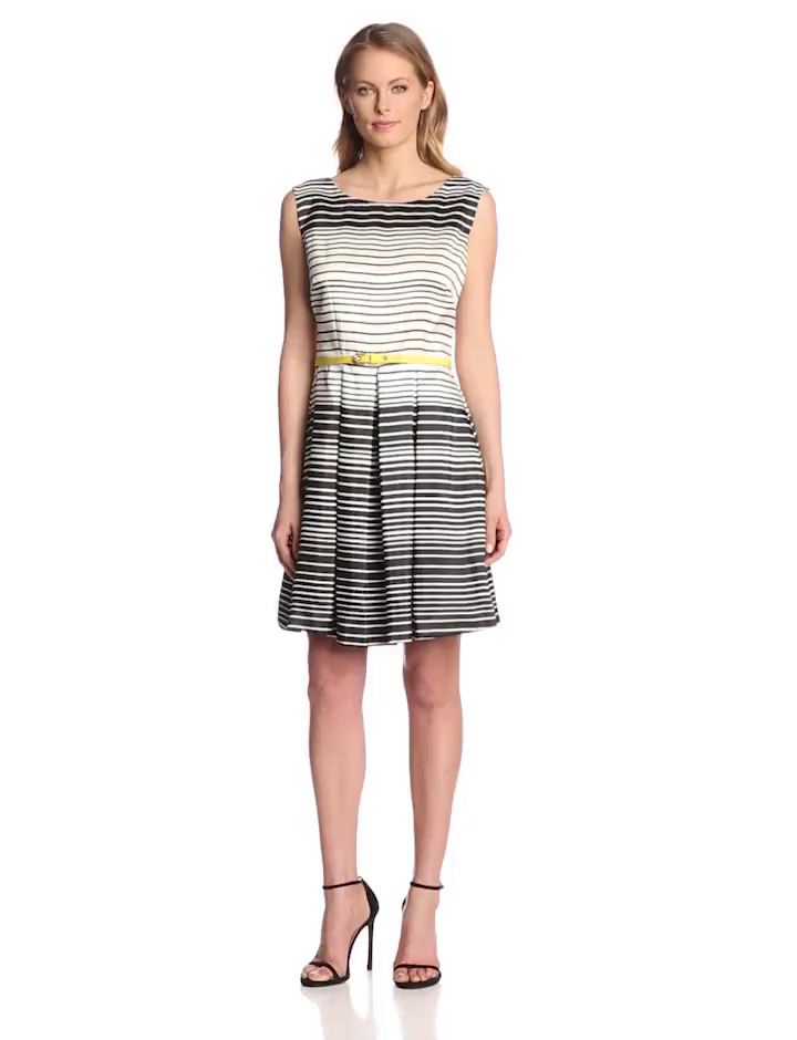 Julian Taylor Women's Sleeveless Belted Stripe Fit and Flare Dress, Black/Ivory, 16